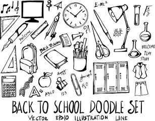 Set of Back to School doodle illustration Hand drawn Sketch line vector eps10
