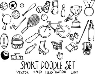Set of Sport doodle illustration Hand drawn Sketch line vector eps10