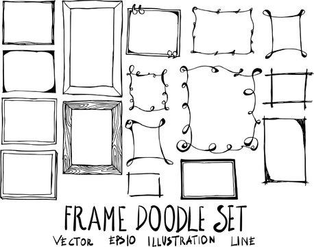 Set of Frame doodle illustration Hand drawn Sketch line vector eps10