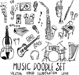 Set of music doodle illustration Hand drawn Sketch line vector eps10