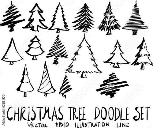 Set Of Christmas Tree Doodle Illustration Hand Drawn Sketch Line