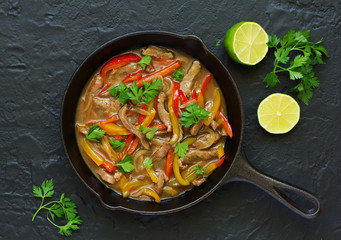 Stir fry with sage and pepper,