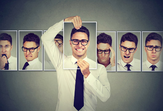 Masked young man in glasses expressing different emotions