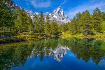 Foto auf Gartenposter Gebirge View of the Blue lake (Lago Blu) near Breuil-Cervinia and Cervino Mount (Matterhorn) in Val D'Aosta,Italy