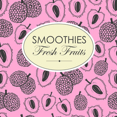 Seamless nature pattern with sketch of fruit. Pink vector background with lychee. Tropical food.