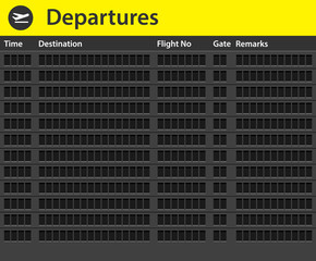 An empty airport timetable. Vector illustration of airport timetable. Airport timetable background.