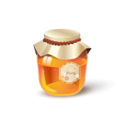 Honey jar isolated. Honey realistic vector  illustration for Jewish Holiday Rosh hashana, Sukkot Israel poster.