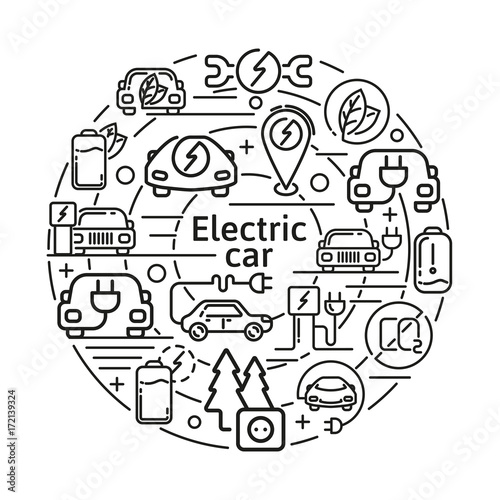 Electric Car Linear Vector Icons Concept Eco Energy Elements In