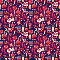 Seamless halloween pattern. Funny background with scary objects. Vector set with eyes, potion, spider, candy, apple, worm, witches boots in cartoon style.