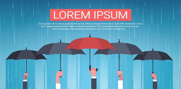 Group Of Hands Holding Umbrella Unger Huge Rain Background Back Rear View Protection Concept Vector Illustration