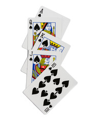Playing cards flush isolated