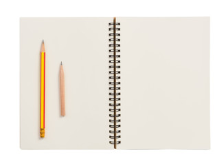 Flat lay,blank notebook and pencil isolated on white background