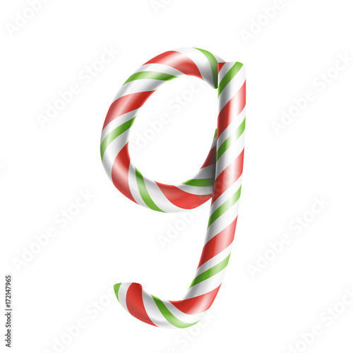 letter g vector 3d realistic candy cane alphabet symbol in christmas colours new year