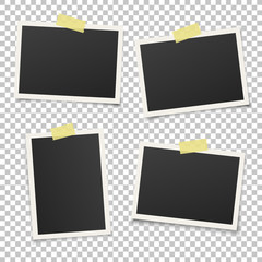 Set of vintage photo frame with yellow adhesive tape. Vintage style.  Vector illustration with adhesive tapes. Photorealistic Vector EPS10 Mockups. Retro Photo Frame Template for your photos.