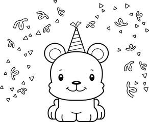 Cartoon Smiling Party Bear