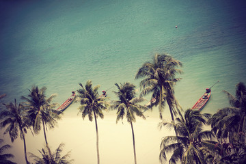 Vintage tropical white sand beach and clear green sea background in summer