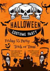 Halloween holiday poster for costume horror party