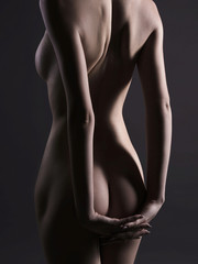 naked back of blonde woman