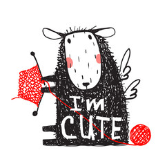 I am Cute Sheep Print with Sign