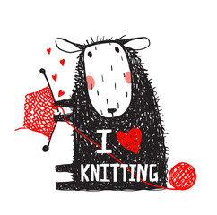 I Love Knitting Sheep Print with Sign