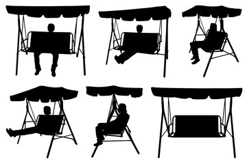Set of different garden swings with people isolated on white