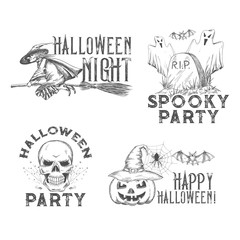 Halloween vector sketch icons for holiday night