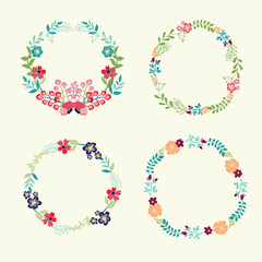 Floral Frame Collection retro flowers wreath