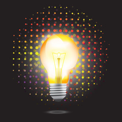 Bulb icon with light bokeh