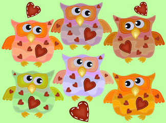 A set of six cool owls with drunken flickering eyes in different directions, hearts on the chest with imitation of sewing, lines, patches.