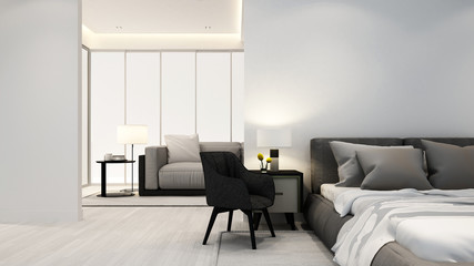 bedroom and living room in apartment or hotel - Interior design - 3D Rendering