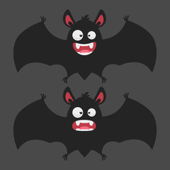 Cartoon Bat Smiles Frightened