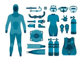 Set of scuba diving equipment.