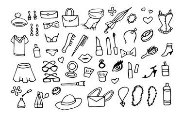 lady fashion accessories vector doodle set