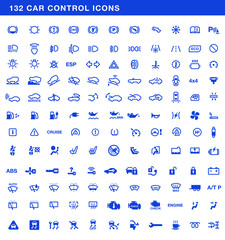 Car dashboards symbols vector set