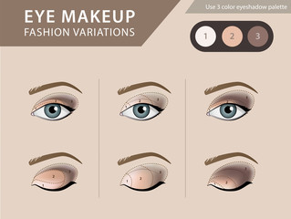 Eye makeup tutorial, eyeshadow vector template