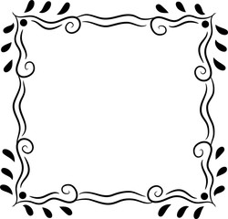 Simple Decorative Square Frame Black Isolated on White
