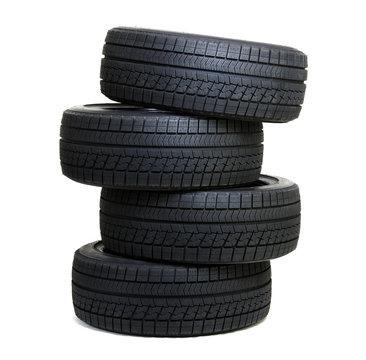 Car tires  on white