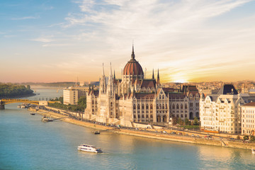 Wall Murals Budapest Beautiful view of the Hungarian Parliament and the chain bridge in the panorama of Budapest at night, Hungary