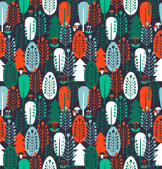 Seamless background with stylized trees. Scandinavian forest pattern