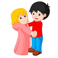 cartoon young boy and girl dancing