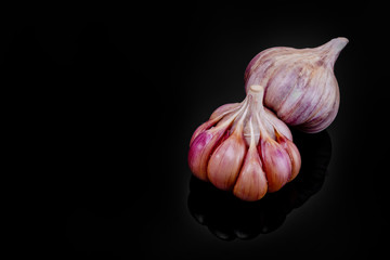 Fresh garlic bulbs on a black background.