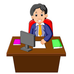Cartoon of businessman at his desk