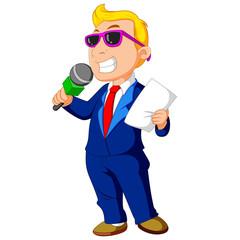 cartoon host holding a microphone