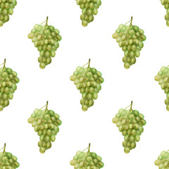Seamless pattern with green grape