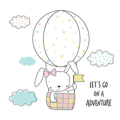 Little bunny in a hot air balloon