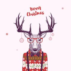 nerd christmas deer