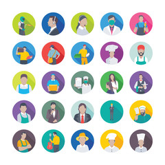 Professions Flat Vector Icons Set 6