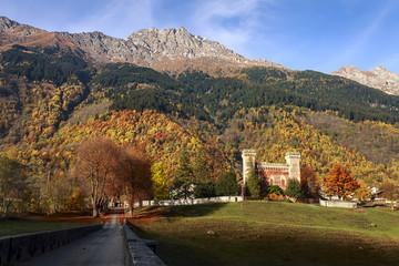 Castelmur castle, Coltura, Stampa, Maloja region, Canton of Graubunden, Bregaglia valley, Switzerland, Europe