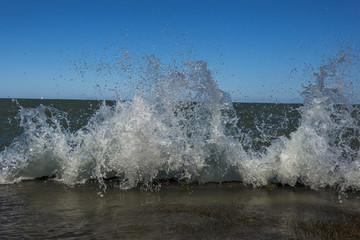 Wave crashing and rising