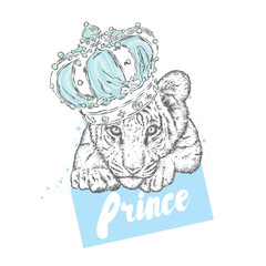 A beautiful tiger cub in the crown. Vector illustration.
